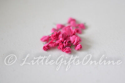 20 x  Pink Mini Paper Flower Head ~10 mm NEW Craft Scrapbook, Embellish, DIY