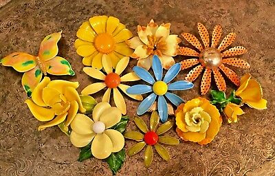 Vintage Lot of 11 Bright Beautiful Bold Enamel Flower Butterfly Brooches Pins