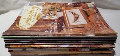 Lot of 12 Embroidery Magazines Embroidery & Cross Stitch x 8 Plus Others