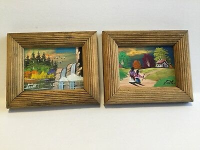 Vintage Pair of Oil On Board Paintings 4 X 4 1/2  Inches Signed