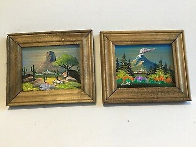 Vintage Pair Of 4 By 4 1/2 Inch Oil Paintings On Board Signed