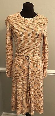Vintage 1970s Goldworm Orange Brown Off White Knit Sweater and Skirt Set S-M