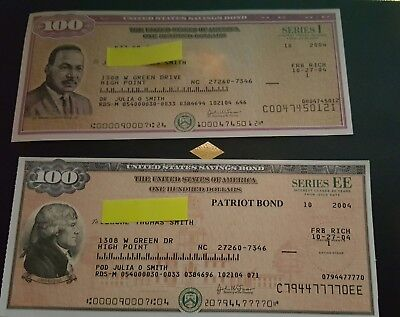 US Savings Bond $100.00 SERIES I and EE Patriot 2004 SERIES MLK and Jefferson