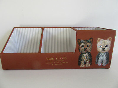 HAND PAINTED ART~~~2 Yorkshire Terriers LARGE PEN PENCIL CADDY DESK ORGANIZER~~~
