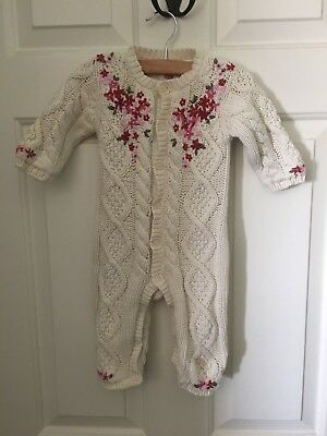 Baby Gap Embroidered Sweater Romper 3-6 Months Lined Warm