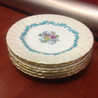Minton Ardmore 6 bread plates  gold rims vg condition England