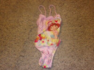 "Girls ""Kids Headquarters"" Strawberry Shortcake Pink One Piece Swimsuit Size 3T"