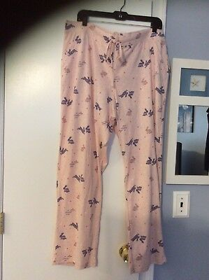 XXL pink blue 8-187O Ladies Sonoma pajama lounge pants bunny butterfly size L