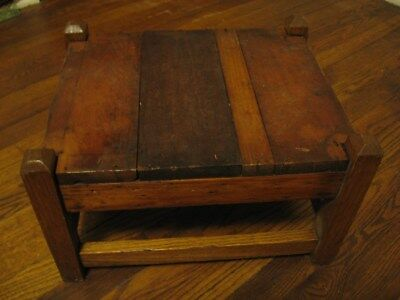 Vintage Arts & Crafts Wood Stool Bench Foot Rest Small Table