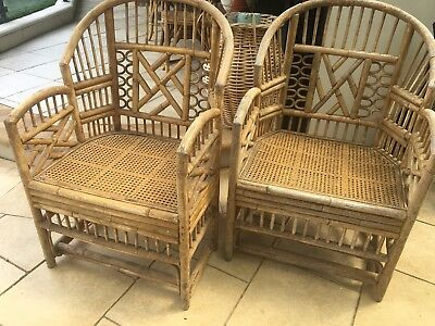 Vintage Pair Bamboo Cane Armchairs Pagoda Oriental Chinoiserie Hollywood Regency