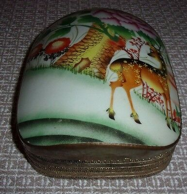 Early 20th Century Asian Porcelain Covered Metal Box - Deer Scene - Very Rare