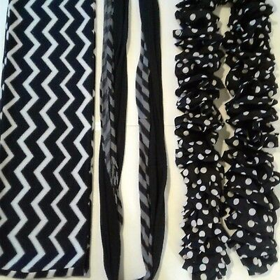 Black White And Gray Scarf Lot 3 Pieces All Different