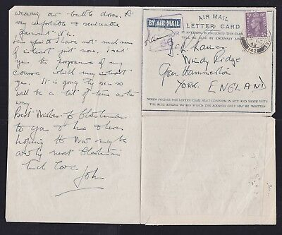 Great Britain UK GB 1943 WWII RAF CENSORED Air Letter FPO 142 to YORK