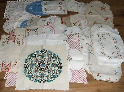 approx 36 Vintage Cotton Linen Doilies some Embroidered various shapes & sizes