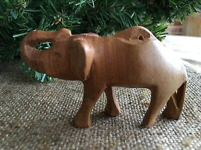 Large Vintage Folk Art Hand Carved Wooden Wood Elephant, Nativity ,Easter Animal