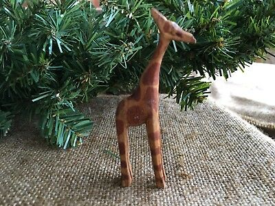 Vintage Folk Art Hand Carved Wooden Olive Wood Giraffe, Nativity,Easter Animal
