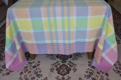VINTAGE TABLECLOTH COTTON STRIPED SEERSUCKER with pastel colours 164x115cm #133