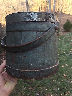 Early Vintage Painted Wooden Bucket With  Lid