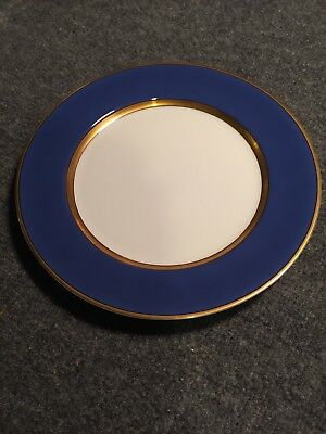 "Fitz and Floyd Renaissance Cerulean Blue w/ Gold Band 10 3/8"" Dinner Plate"
