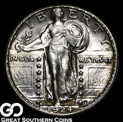 1924-S Standing Liberty Quarter, Full Head, RARE This Nice, Gem BU++ FH Key Date