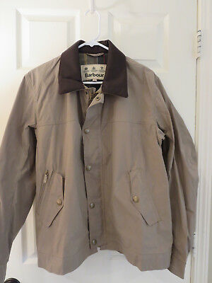 Barbour Summer Drover Jacket (L) Mens Nwt Waxed Cotton Coat Leather Collar