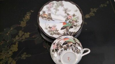 Beautiful Japanese Antique Hand Painted Birds & Flower Cup,Saucer Set