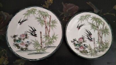 2 X Beautiful Japanese Antique Hand Painted Birds & Flower Plate