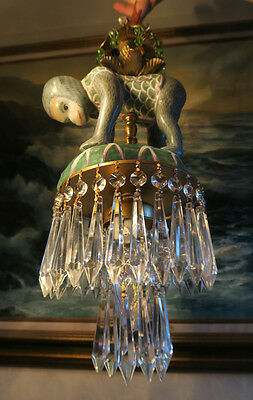 Chandelier lamp Monkey Porcelain Brass SWAG Palm vintage Beaded crystal prisms