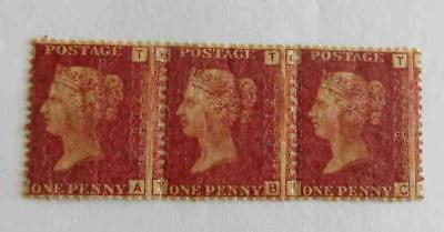 GB 1858 - 79 QV  1d red plate 216 strip of 3 unused
