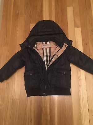Boys Burberry Navy Blue Quilted Puffer Jacket Size 4