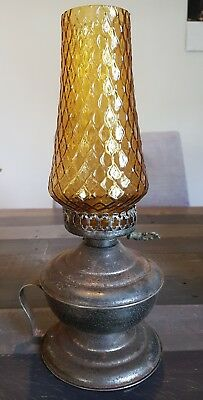 amber glass kerosene lamp