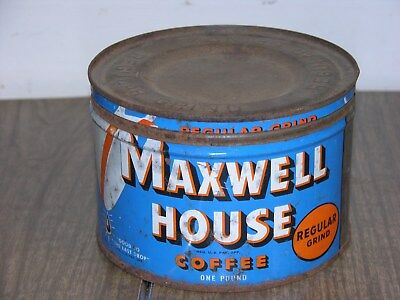 Vintage Maxwell House Coffee Tin Can Advertising One Pound Regular Grind
