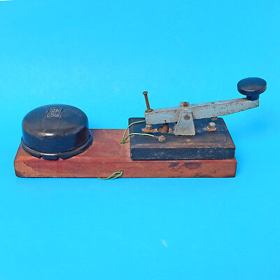 Vintage Morse Key with Buzzer on Wooden Base Telegraphy