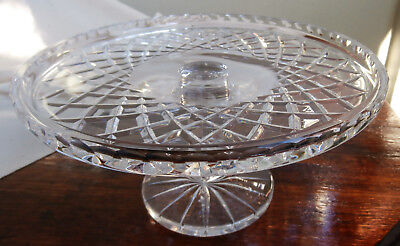 Stunning Crystal Cake Plate~Stand~Diamond Cut Pattern~Ornate Faceted Stand