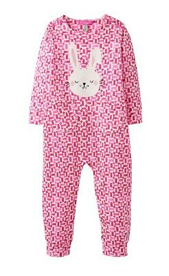JOULES Baby Girls Gracie Bunny Tile Geo Babygrow Playsuit Romper Pink Cotton