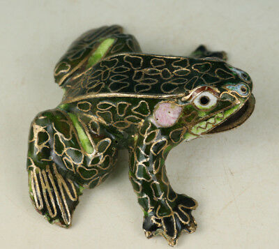 Lovely Chinese Cloisonne Collection Handmade Carved Frog Statue