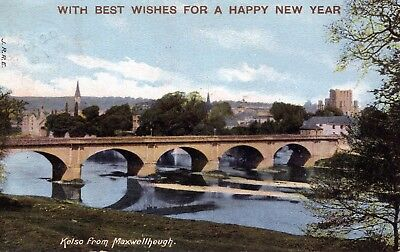 "Postcard ""Kelso from Maxwellheugh""  Happy New Year:KELSO/196 cancel 1905"