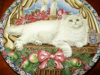 Collectable white cat plate ,winter cat by Aynsley, england