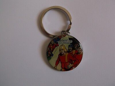 roy of the rovers - metal & enamel keyring in vgc with engraved back