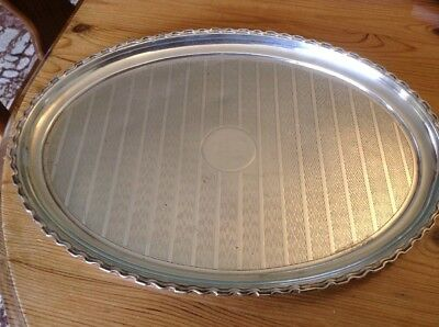 Solid Silver Oval Drinks Tray Or Card Tray