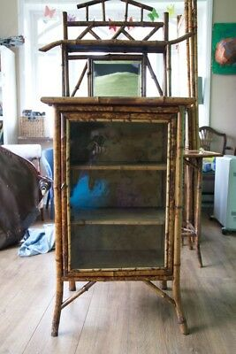 Victorian Antique Tiger Bamboo Display Cabinet
