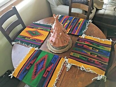 4 Oaxaca  Hand Woven Wool Zapotec Placemat  Placemats Table  Never used