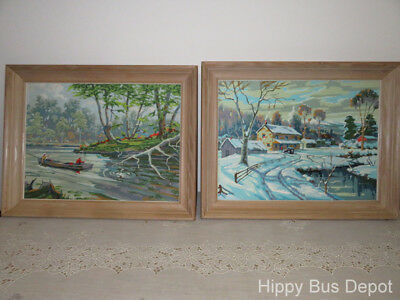 PAIR Mid Century Modern 29x23 Paint by Number River Boat Fishing & Winter Scenes