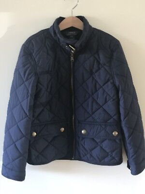 Girls Polo Ralph Lauren Quilted Jacket Coat Age 7 Navy Blue Outwear Coat Casual