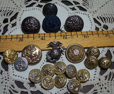 vintage wwll military navy button brass pin lot waterbury horstmann