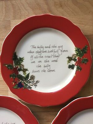 3 portmeirion Holly And The Ivy Tea plates Perfect For Christmas