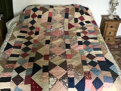 Antique French Huge Patchwork Quilt. Good Clean Cond. With Few  Perished Squares
