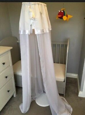 Baby Toddler cot bed crib drape includes stand canopy netting white satin trim