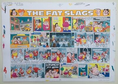 Viz Original Artwork - the Fat Slags double page in colour from issue 79