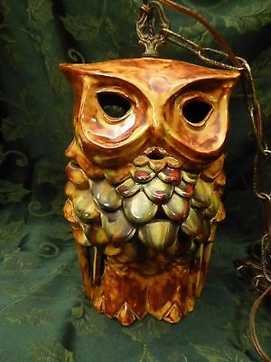 Vtg Unique 2-Sided Mid Century Funky  Ceramic Owl Hanging Swag Lamp Light